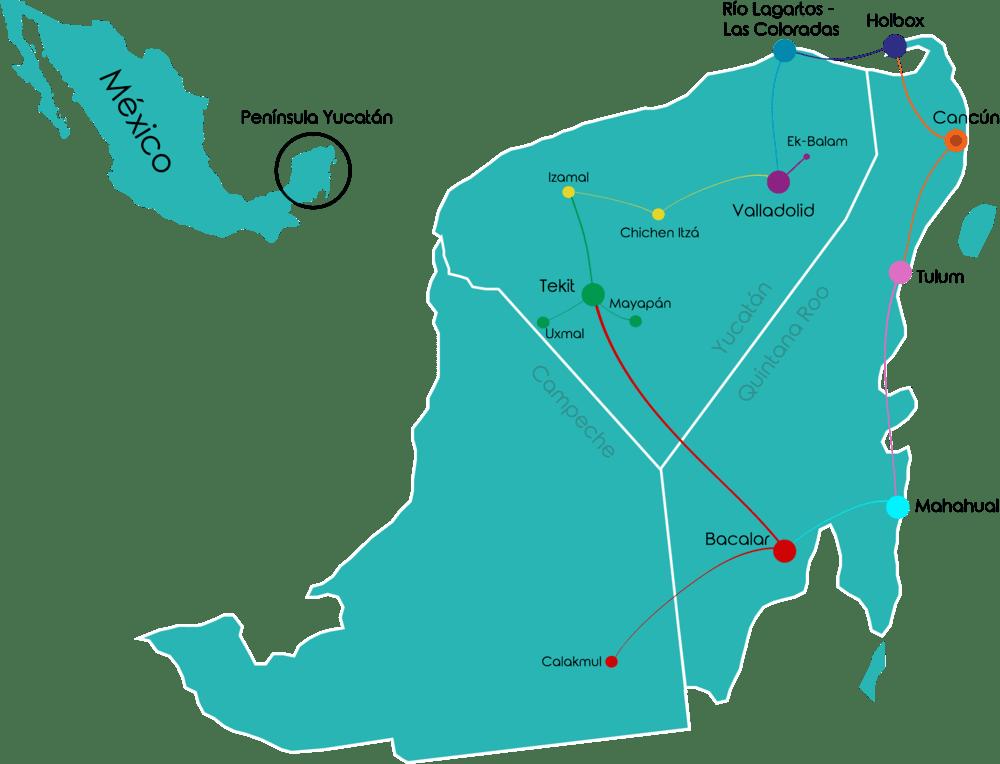 Viaje en grupo a México • Viaje grupo Mapa mexico 2021