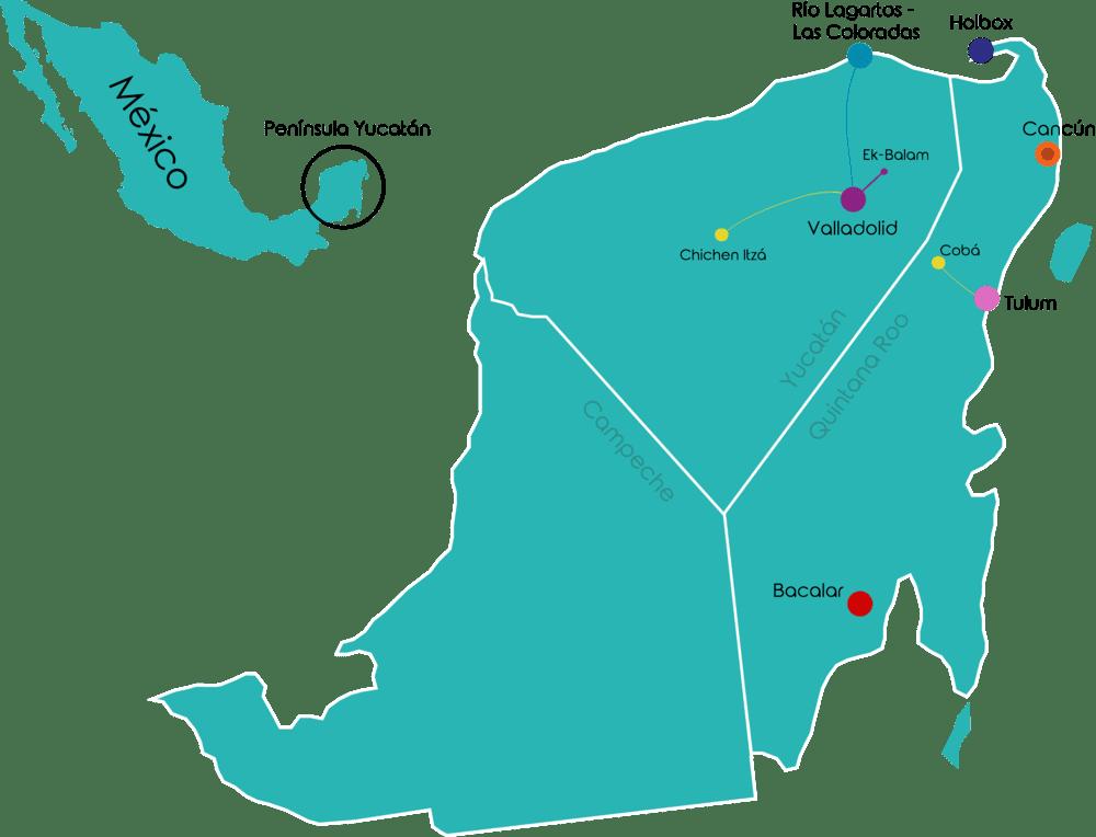Viaje en grupo a México 12 días Fin de año 21-22 • Mapa Mexico Dic fin de ano 2021 22